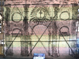 Ronyel Compra (Cebu) turns the large, formidable architectures of Visayan islands into delicate fabric and ephemeral video, projecting the imagined transience of its